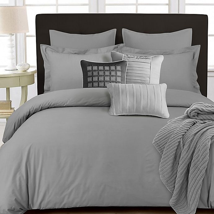 Alternate image 1 for Tribeca Living 350-Thread-Count Cotton Percale Reversible King Duvet Cover Set in Silver