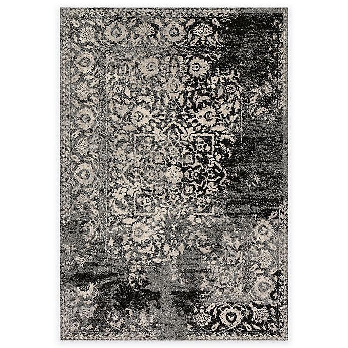 Alternate image 1 for Loloi Rugs Emory Distressed Damask 2-Foot 4-Inch x 7-Foot 7-Inch Runner in Black/Ivory