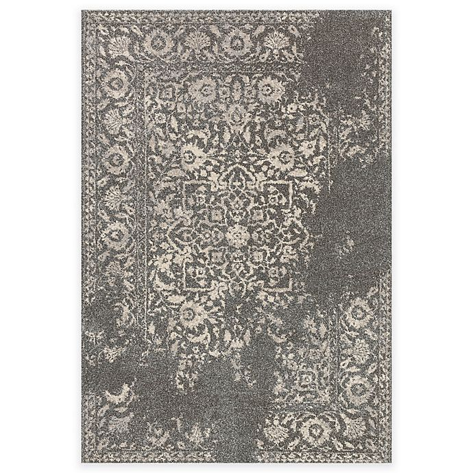 Alternate image 1 for Loloi Rugs Emory Distressed Damask 7-Foot 7-Inch x 10-Foot 6-Inch Area Rug in Charcoal/Ivory