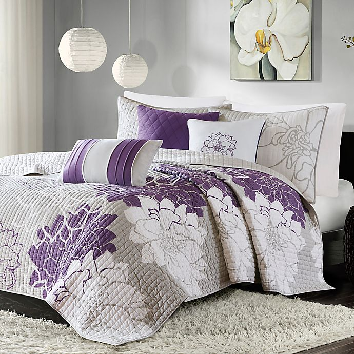 Alternate image 1 for Madison Park Lola 6-Piece Coverlet Set in Grey/Purple