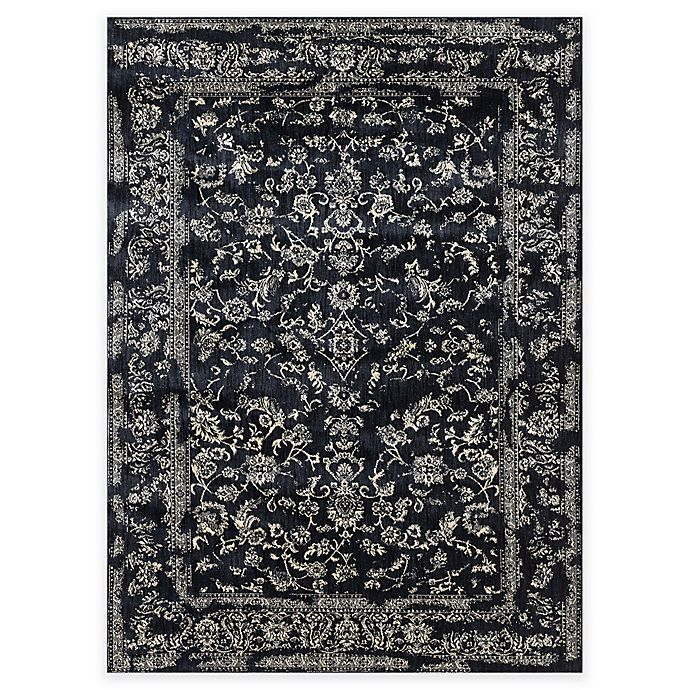 Alternate image 1 for Loloi Rugs Florence Damask Border 6-Foot 7-Inch x 9-Foot 2-Inch Area Rug in Black/Ivory