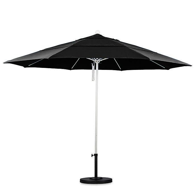 Alternate image 1 for California Umbrella 11-Foot Double Vent White Pole Market Umbrella in Pacifica Black