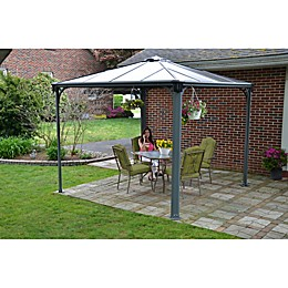 Palram Palermo 3000 10-Foot x 10-Foot Square Gazebo in Grey