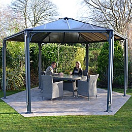 Palram Monaco 15-Foot x 13-Foot Hexagon Garden Gazebo in Grey