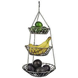 Satin Nickel-Finished 3-Tier Metal Hanging Basket