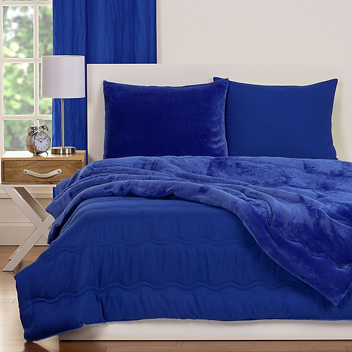 Alternate image 1 for Crayola® Playful Plush 3-Piece Full/Queen Comforter Set in Blue
