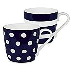 Konitz Dots and Stripes Mugs in Dark Blue (Set of 2)