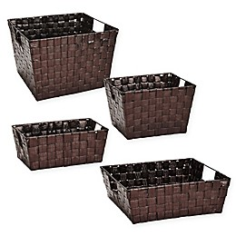 Woven Polypropylene Basket in Bronze