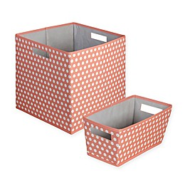 b+in® Dotted Fabric Storage Bin in Coral