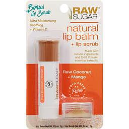 Raw Sugar Natural Lip Balm and Lip Scrub Set in Raw Coconut/Mango