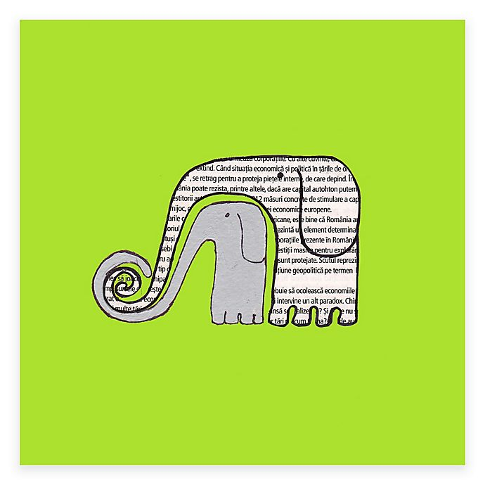 Alternate image 1 for Newspaper Elephants Blue Canvas Wall Art in Green