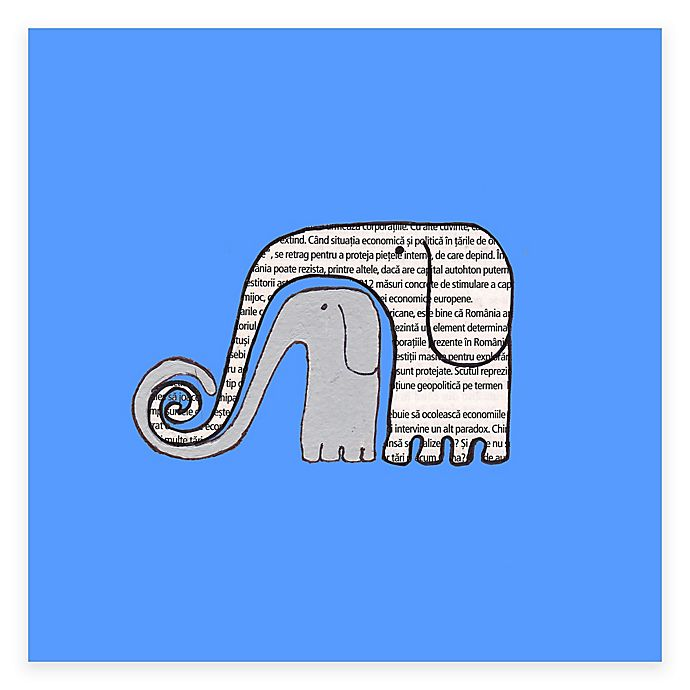 Alternate image 1 for Newspaper Elephants Blue Canvas Wall Art in Blue