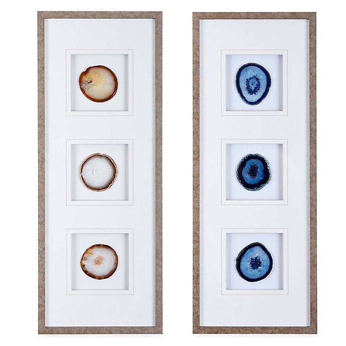 Alternate image 1 for Madison Park Natural Agate Stone Trio Framed Wall Art