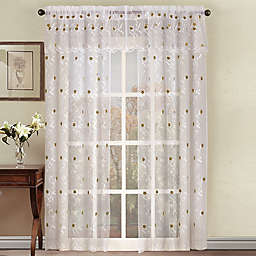 Astor Sheer Embroidered Rod Pocket Window Curtain Panel and Valance