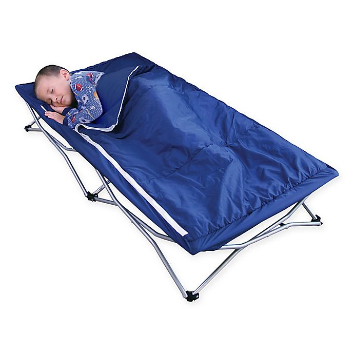 Alternate image 1 for Regalo 47-Inch x 26-Inch Deluxe Portable Folding Toddler Cot in Navy