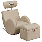 Flash Furniture Personalized Kids Rocking Chair and Ottoman Set in Beige