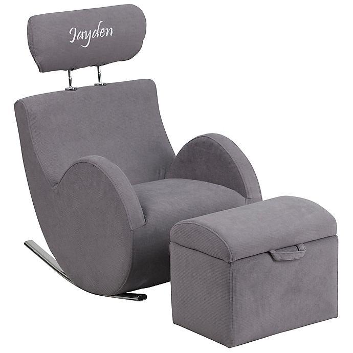 Fabulous Flash Furniture Personalized Kids Rocking Chair And Ottoman Creativecarmelina Interior Chair Design Creativecarmelinacom
