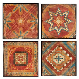 Madison Park Moroccan Tile Deco Box 4-Piece Wall Art