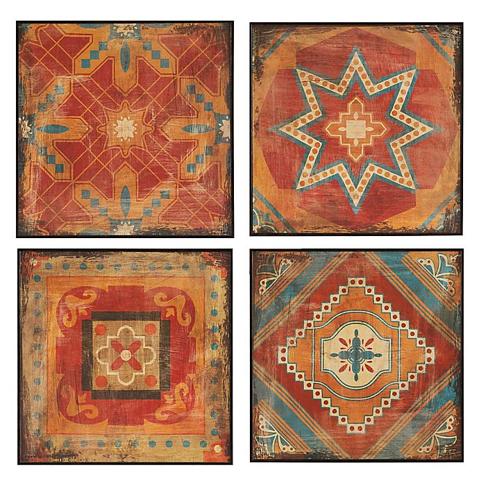 Alternate image 1 for Madison Park Moroccan Tile Deco Box 4-Piece Wall Art