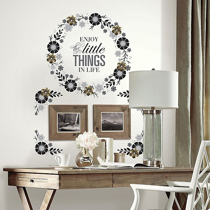Alternate image 1 for Floral Wreath Quote Peel and Stick Wall Decals with 3D Flowers