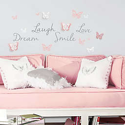 Butterfly Dream Peel and Stick Wall Decals with 3D Cutout Butterflies