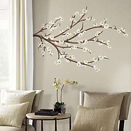 White Blossom Branch Peel and Stick Giant Wall Decals with 3D Embellishments