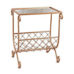 Side Table with Magazine Rack in Copper