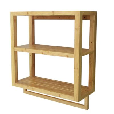 Bamboo 2 Tier Wall Shelf With Towel Bar Bed Bath Amp Beyond