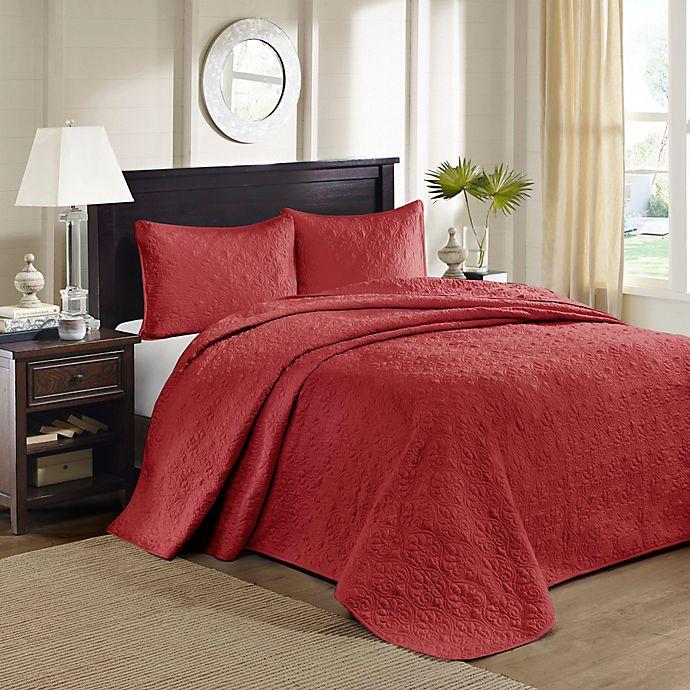 Alternate image 1 for Madison Park Quebec Reversible Queen Bedspread Set in Red