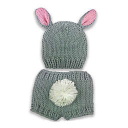 d9428cad19a So dorable Chunky Knit Bear 2-Piece Hat and Diaper Set in Grey