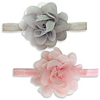 So'Dorable 2-Piece Chiffon Flower Headwraps in Pink/Grey