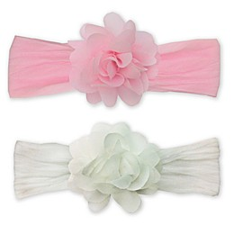 So'Dorable Chiffon Flower Headwraps in Pink/White
