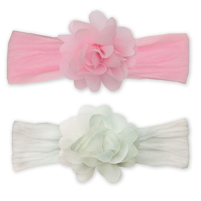 Alternate image 1 for So'Dorable Chiffon Flower Headwraps in Pink/White
