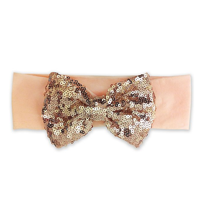 Alternate image 1 for Elly & Emmy Sequin Bow Headwrap in Peach
