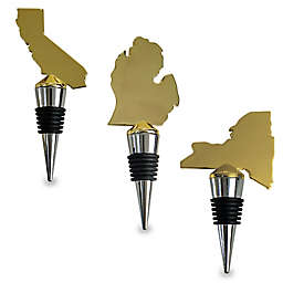 Wild Eye Designs Map/Flag Wine Stopper in Gold