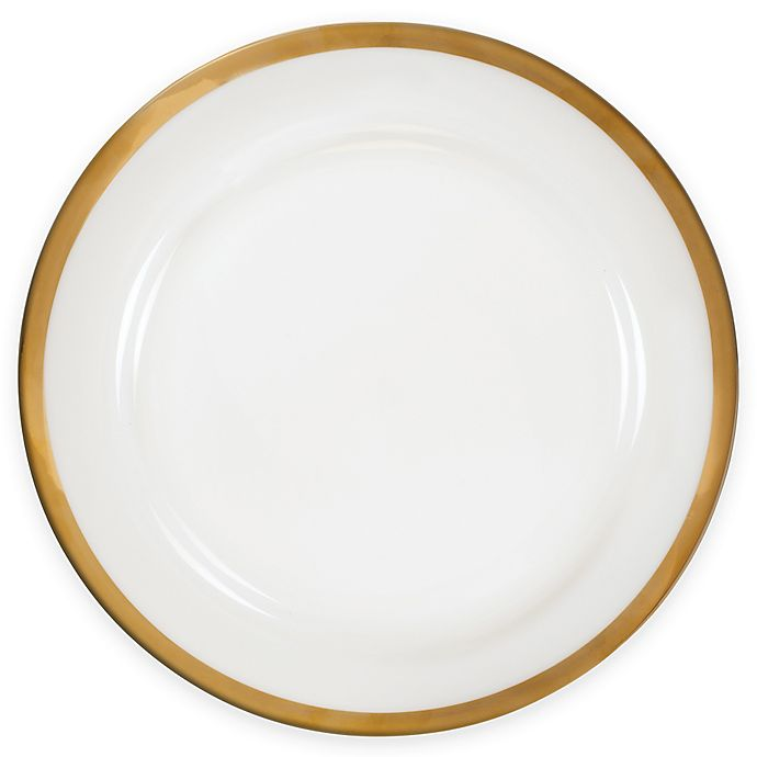 Alternate image 1 for Nevaeh White® by Fitz and Floyd® Grand Rim Wide Band Gold Dinner Plate