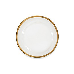 Nevaeh White® by Fitz and Floyd® Grand Rim Wide Band Gold Salad Plate