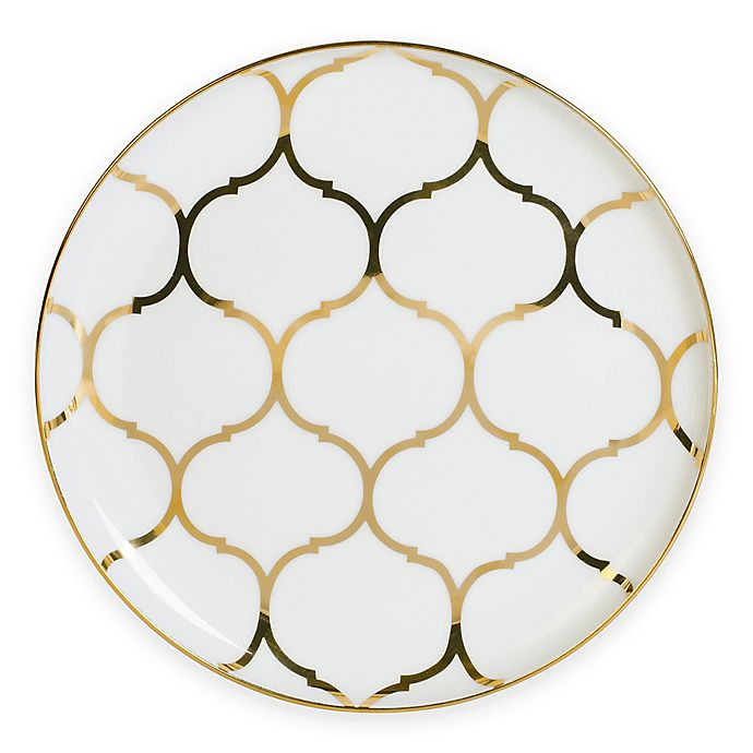 Alternate image 1 for Nevaeh White® by Fitz and Floyd® Lattice Coupe Salad Plate in Gold