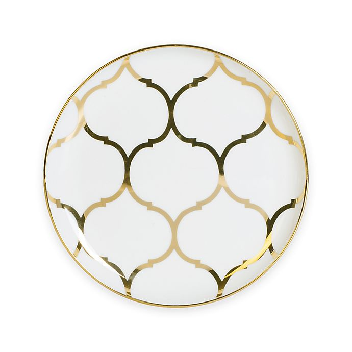 Alternate image 1 for Nevaeh White® by Fitz and Floyd® Lattice Coupe Appetizer Plate in Gold