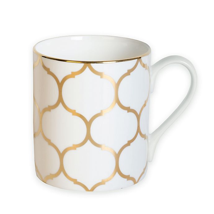 Alternate image 1 for Nevaeh White® by Fitz and Floyd® Lattice Mug in Gold