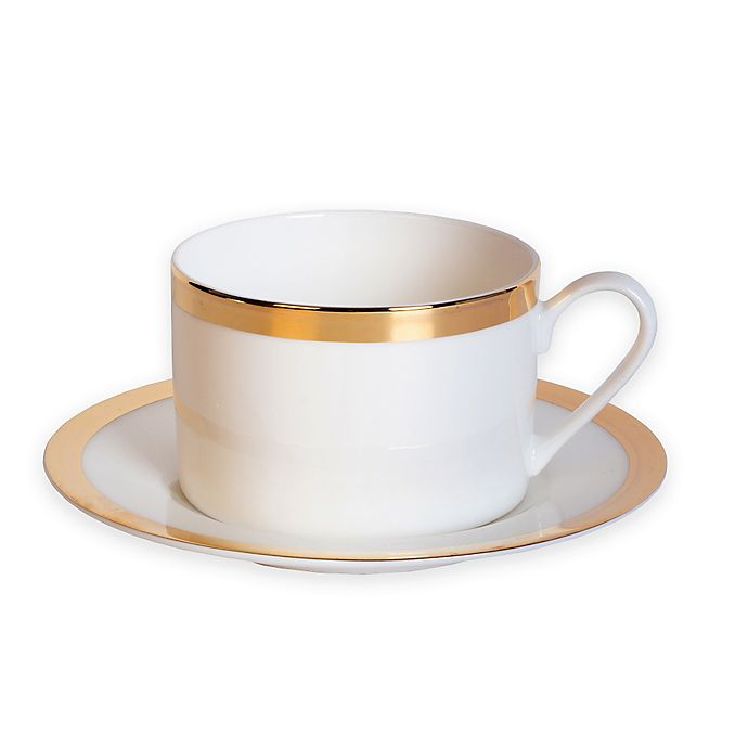 Alternate image 1 for Nevaeh White® by Fitz and Floyd® Grand Rim Wide Band Gold Cup and Saucer