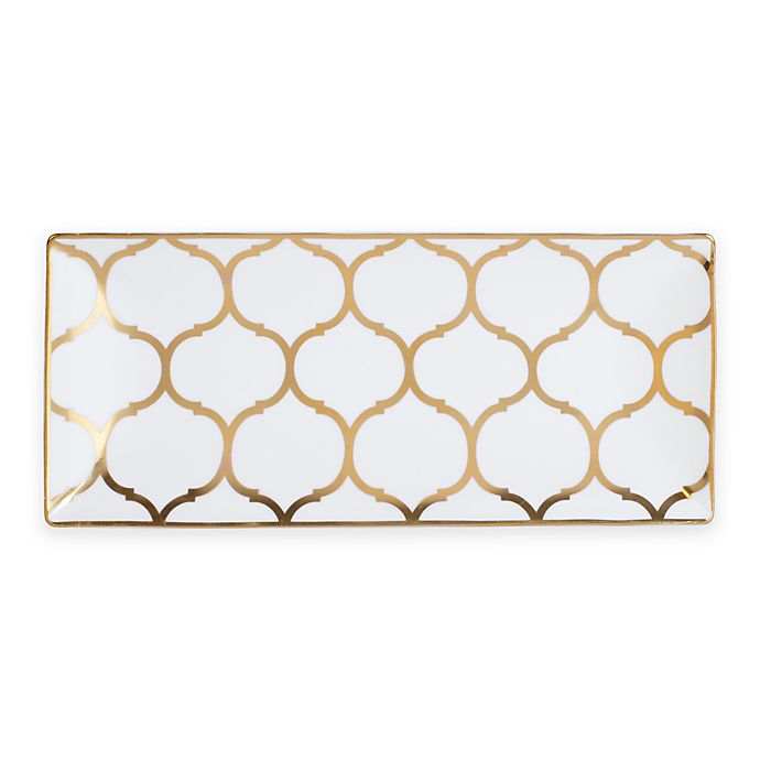 Alternate image 1 for Nevaeh White® by Fitz and Floyd® Lattice Trinket Tray in Gold