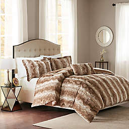 Madison Park Zuri Faux Fur Duvet Cover Set