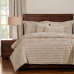 Tattered Queen Duvet Cover Set with Comforter Insert in Almond