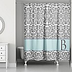 Botanical Leaves Shower Curtain in Grey/Blue