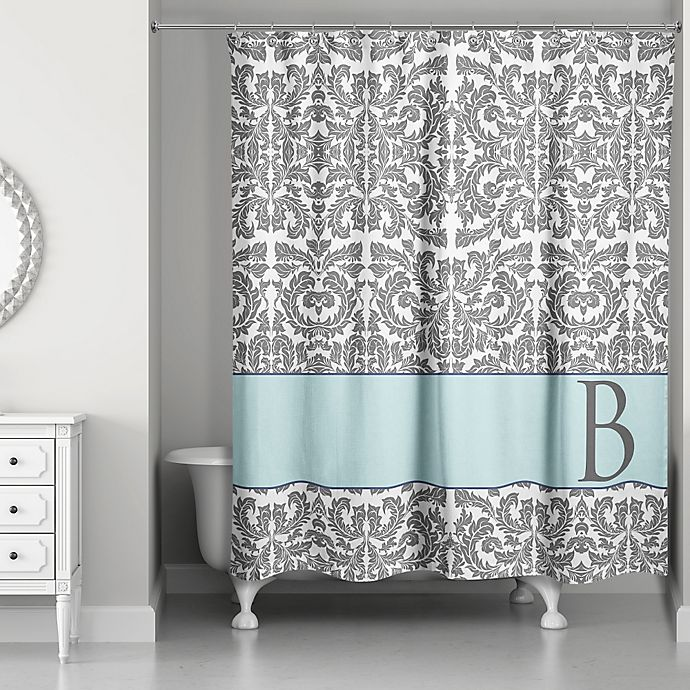 Alternate image 1 for Botanical Leaves Shower Curtain in Grey/Blue