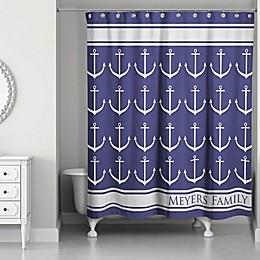 Anchor Rain Shower Curtain in Blue/Grey/White