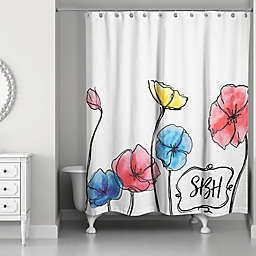 Watercolor Flowers Shower Curtain in Red/Yellow/Blue/White