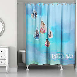 Waterdrops Shower Curtain in Blue