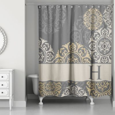 Medallions Shower Curtain In Grey Taupe Gold